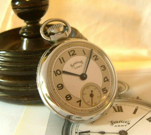 Vintage Pocket Watch 1955 Services Army Two Tone Dial Chrome Case FWO (1 of 10)
