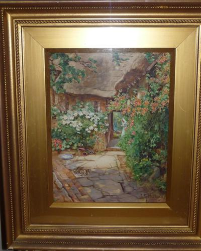'A quaint corner at Wick' watercolour by George F Nicholls circa 1920 (1 of 2)