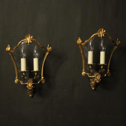 French Pair Of Gilded Bronze Half Lanterns (1 of 10)