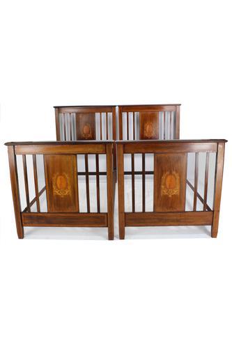 Pair of Edwardian Mahogany & Inlaid Single Beds (1 of 13)