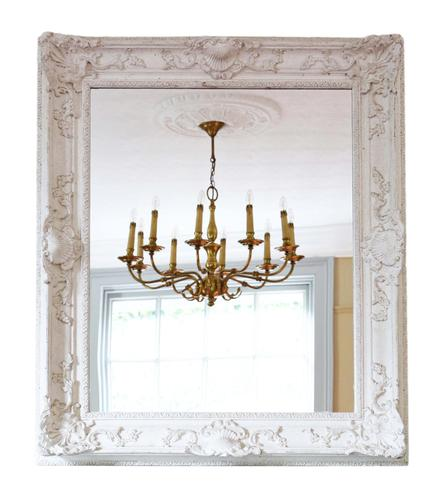 Large Natural Gesso Overmantle or Wall Mirror Mid 20th Century (1 of 8)