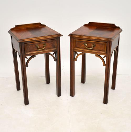Pair of Antique Chippendale Style Mahogany Bedside Tables (1 of 12)