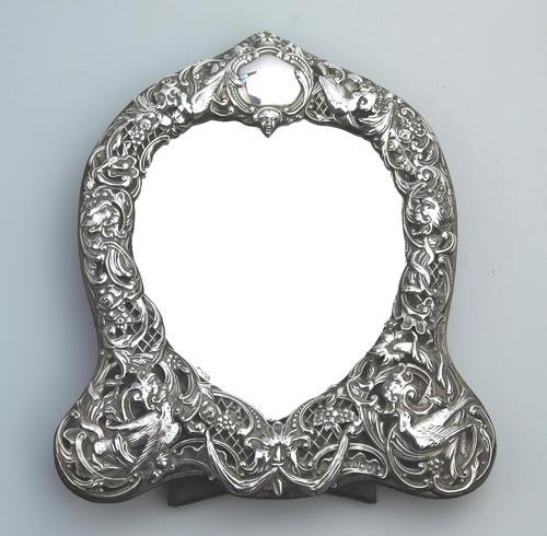 William Comyns : A Fine Large Quality Antique Solid Silver Novelty Mirror C.1905 (1 of 11)