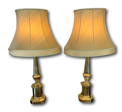 Pair Of Early 20th C Brass Lamps With Silk Shades (1 of 7)