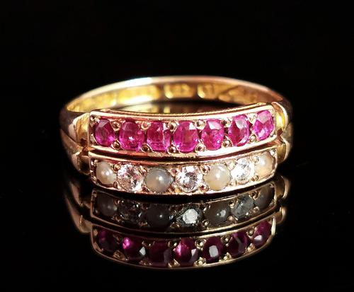 Antique Victorian Ruby, Diamond and Pearl Ring, Double Row, 15ct Gold (1 of 12)