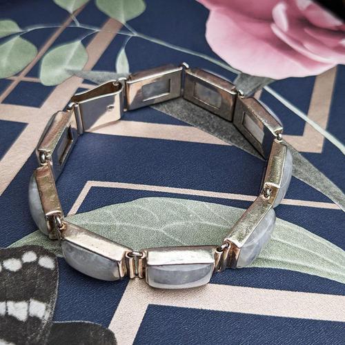 Vintage Sterling Silver Moonstone Panel Bracelet (1 of 11)