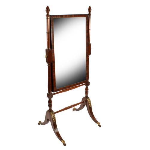 Fine Georgian Mahogany Cheval Mirror (1 of 8)