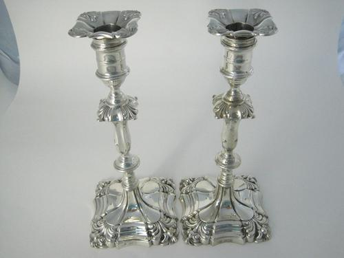 Pair of Goldsmiths & Silversmith George III Style Silver Candlesticks (1 of 8)