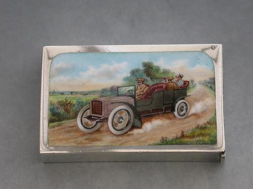 Edwardian Silver & Enamel Vintage Car Vesta Case by John Millward Banks, Chester, 1905 (1 of 15)
