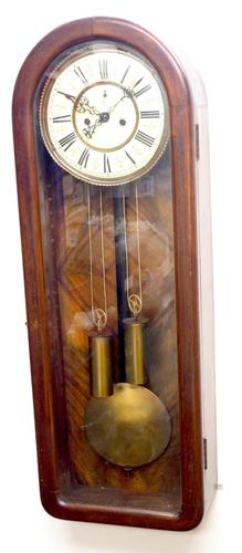 Fantastic Antique Walnut Arch Glazed 8-day Twin Weight Striking Vienna Regulator Wall Clock (1 of 12)