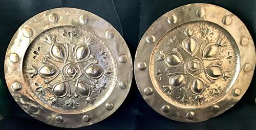Pair of Large  Arts and Crafts  Repousse  Copper Chargers (1 of 5)