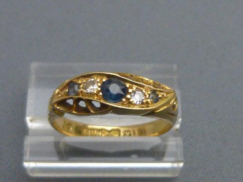 18ct gold, sapphire and diamond ring (1 of 5)