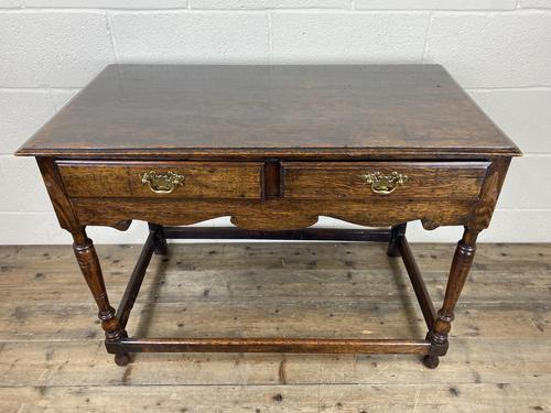 Antique Oak Two Drawer Side Table (1 of 14)