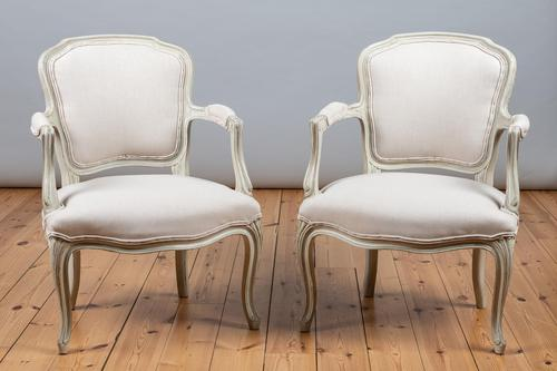 Pair of Large French Louis XV Style Painted Upholstered Armchairs (1 of 9)
