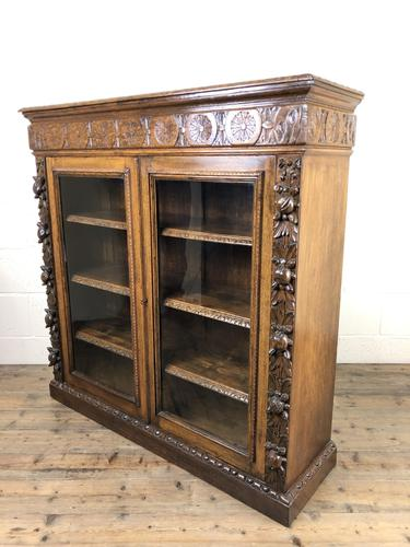 Victorian Glazed Oak Cabinet with Carved Detail (1 of 10)
