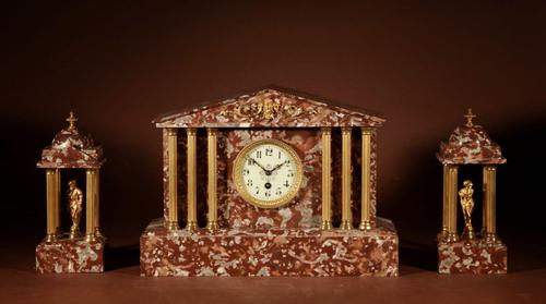 Grand Tour Style Very Decorative French Gilded Brass & Marble Clock Garniture (1 of 14)