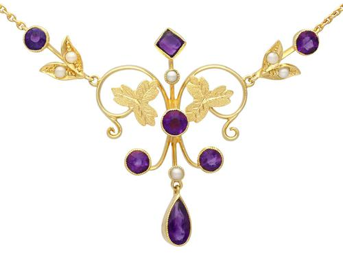 1.45ct Amethyst & Seed Pearl, 15ct Yellow Gold Necklace - Antique c.1880 (1 of 9)