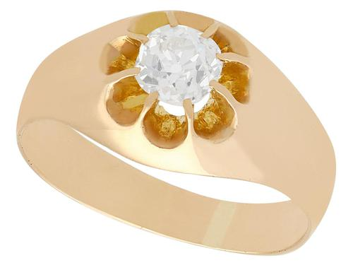 0.64ct Diamond & 12ct Yellow Gold Gent's Ring - Antique French c.1920 (1 of 9)