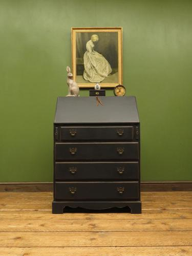 Antique Painted Black Writing Bureau Desk with fall front, lockable, Gothic (1 of 10)