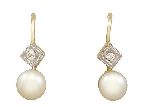 Pearl & Diamond, 14ct Yellow Gold Drop Earrings c.1930 (1 of 9)