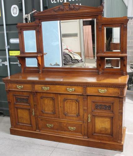 1910's Good Large Carved Oak Sideboard with Mirror Back (1 of 7)