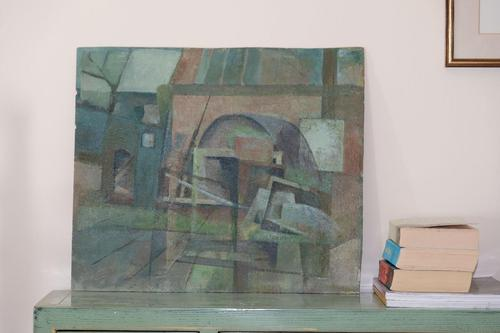 Swedish Modernist View of Buildings - Oil on Board (1 of 4)
