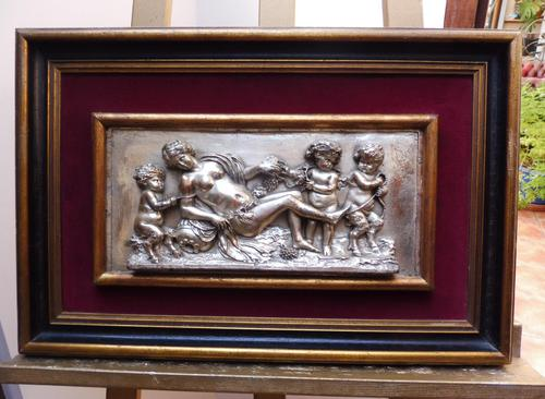 Silvered on Copper Wall Putti Plaque (1 of 12)