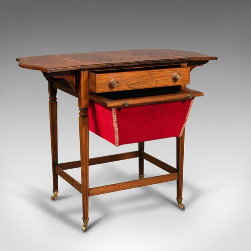Antique Drop Leaf Sewing Table, English, Rosewood, Side, Lamp, Regency c.1820 (1 of 12)