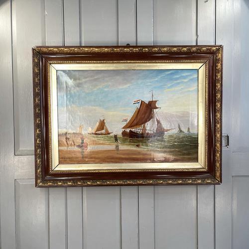 Antique Marine Seascape Coastal Oil Painting of Dutch Sailing Barges Signed J Witham 1898 (1 of 10)