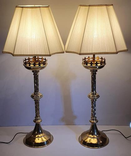 19th Century Gothic Brass Candlesticks Polished & Converted to Table Lamps (1 of 5)