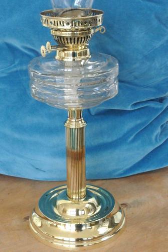 Original Victorian Cut Glass & Brass Oil Lamp - c.1900 Working Order (1 of 7)