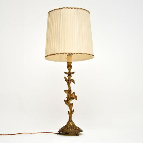 Antique Gilt Metal Table Lamp (1 of 8)
