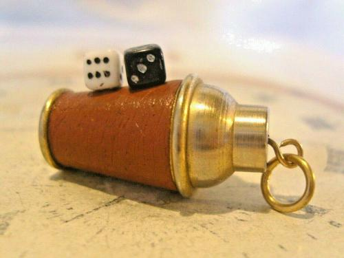 Vintage Pocket Watch Chain Fob 1960s Brass & Leather Gambling Fob With Dice (1 of 10)