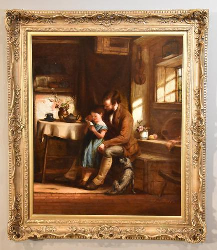 """Oil Painting Frederick Johnston """"The Reading Lesson"""" (1 of 5)"""