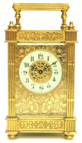 Fantastic French 8-day Fleur De Lis Decorated Panel 8-day Carriage Clock Timepiece c1890 (1 of 10)