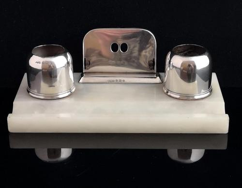 Art Deco Silver & Alabaster Desk Stand, Inkstand (1 of 13)