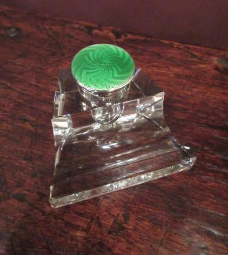 Edwardian Period Antique Silver Enamel Inkstand (1 of 7)