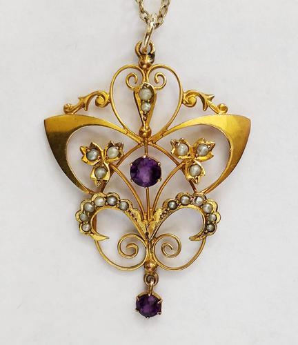 Victorian Art Nouveau 9ct Gold Pendant (1 of 9)