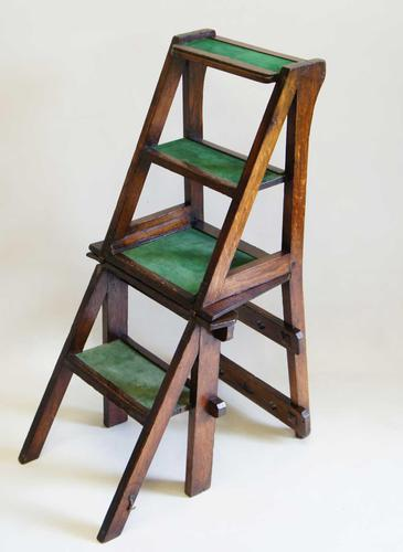 Victorian Metamorphic Oak Library Step Chair (1 of 13)