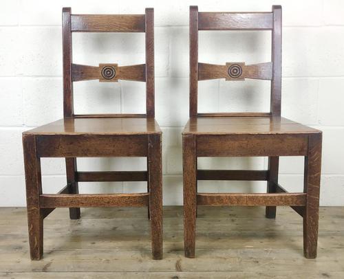 Pair of Antique Oak Bar Back Farmhouse Chairs (1 of 14)