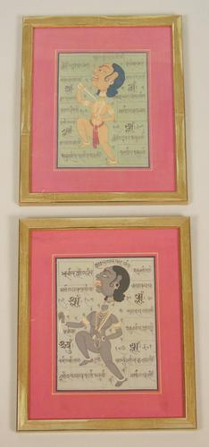 Antique Indian Pair of Paintings Decapitation (1 of 6)