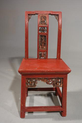 Small Early 20th Century Red Lacquer Carved Side Chair (1 of 6)