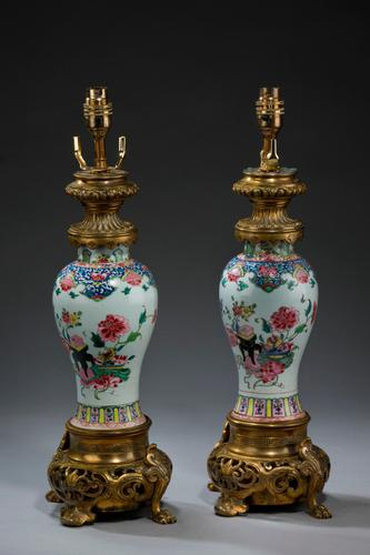 Pair of 19th Century Canton Porcelain Lamps (1 of 5)