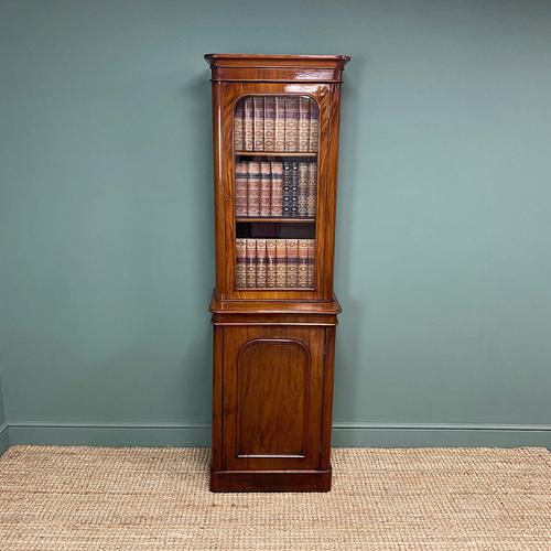 Tall Slim Victorian Mahogany Antique Bookcase on Cupboard (1 of 10)