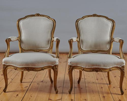 Pair Of French Louis XV Style Painted And Gilt Armchairs (1 of 8)