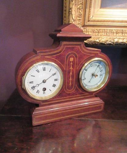 Top Quality Antique Inlaid Clock Barometer (1 of 10)