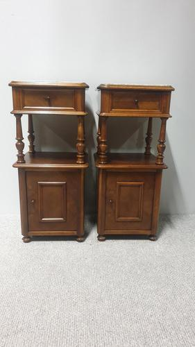 Pair of French Walnut Bedside Lamp Cabinets (1 of 7)