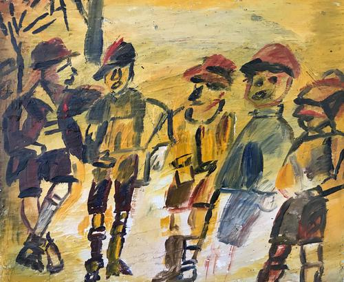 Original oil painting 'Likely Lads' by Doreen Heaton Potworowski. 1930-2014. Studio stamped verso. (1 of 2)