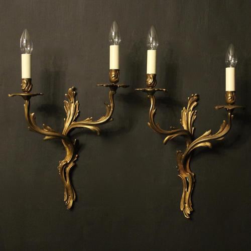 French Pair of Gilded Antique Wall Sconces (1 of 10)