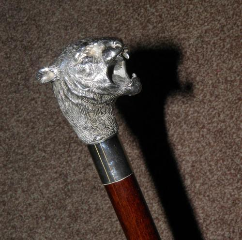 Vintage Hallmarked 925 Silver Walking Stick / Cane With Snarling Tiger Handle 91cm (1 of 21)